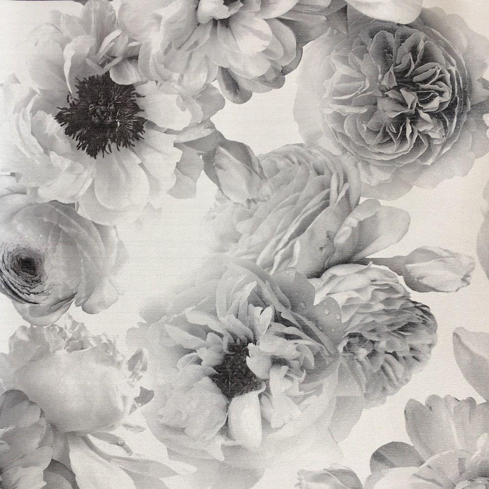 Arthouse Diamond Bloom Black And White Flower Glitter Floral Wallpaper 257001 White Flower Wallpaper Black Floral Wallpaper Vintage Floral Wallpapers