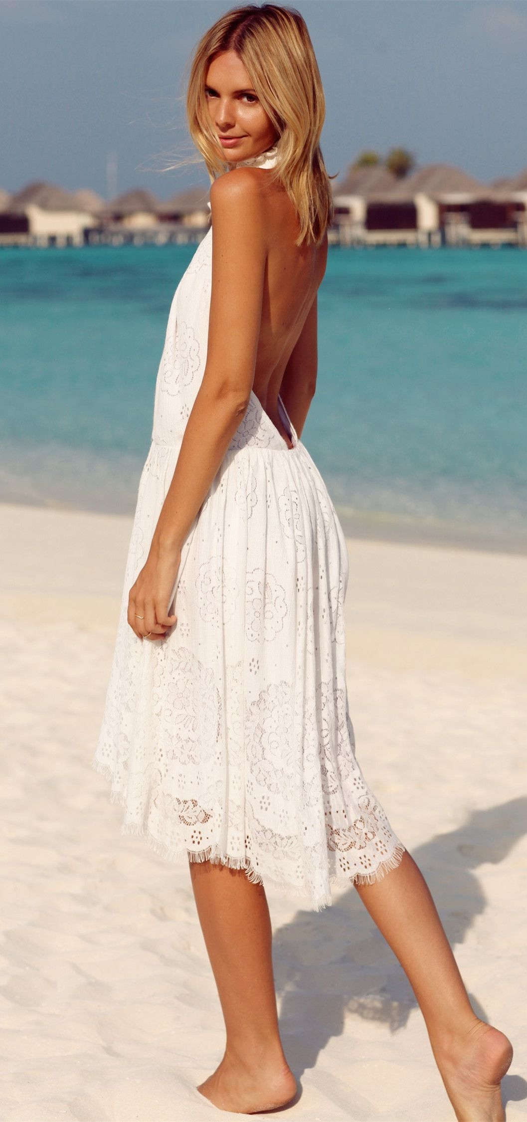 Lace dress open back  Sexy Halter White Open Back Openwork Sleeveless Lace Dress For Women