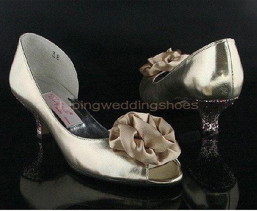 Peep Toe Champagne Satin Wedding Shoes Low Heel