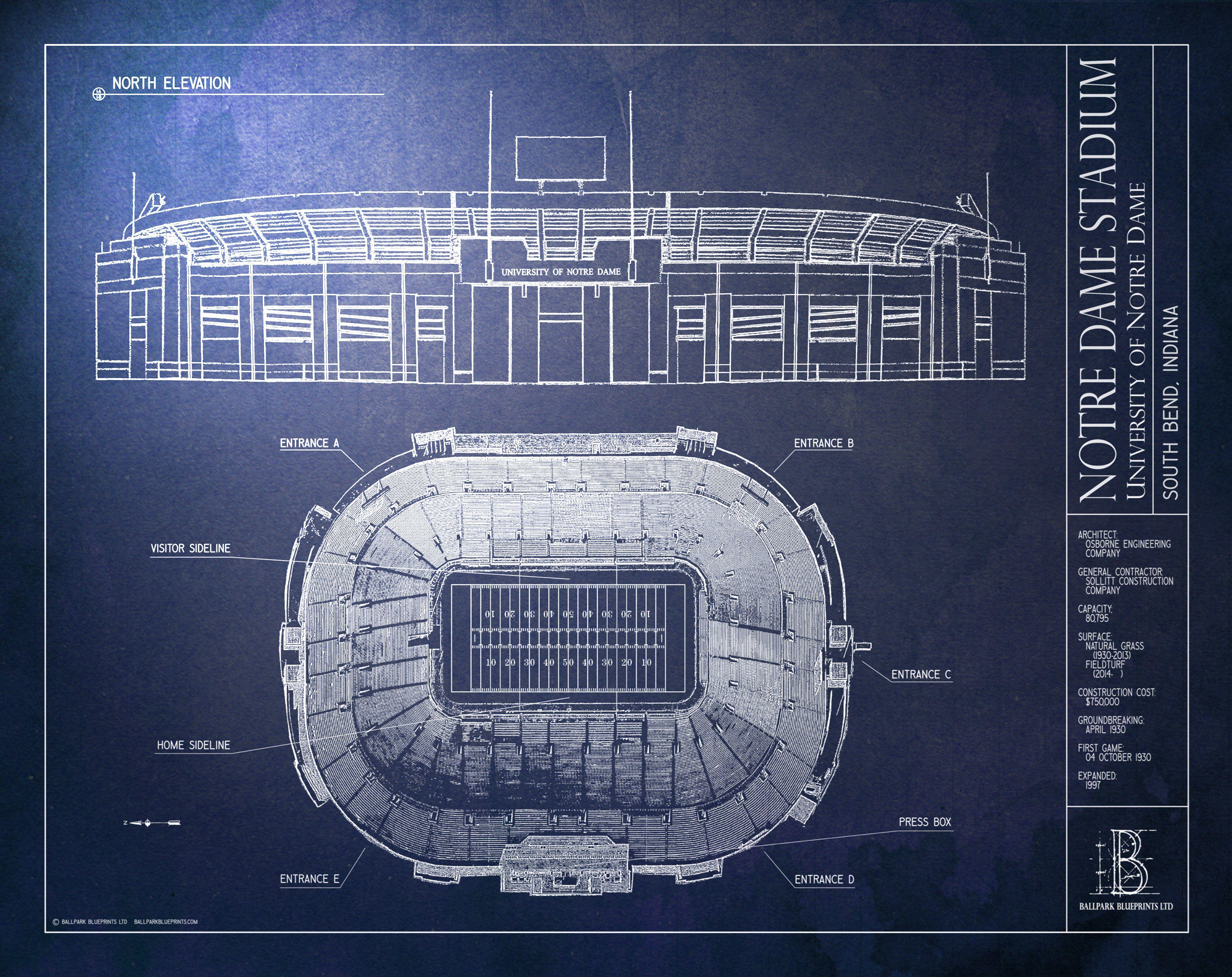 Notre Dame Stadium University Of Notre Dame Murals Your Way Large Framed Prints Notre Dame