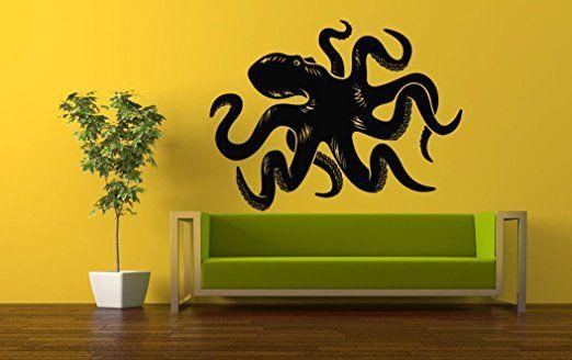 Wall Vinyl Sticker Decals Mural Room Design Pattern Fish Octopus Monster Tentacles Ocean Sea bo674