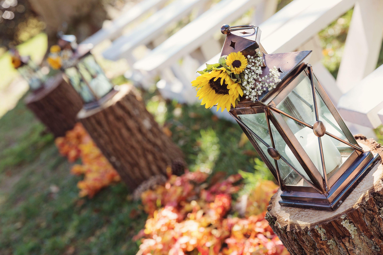 Fall Wedding Aisle Decoration Fall Leaves Lanterns Sunflowers Wedding Aisle Decorations Aisle Decor Fall Wedding Arches