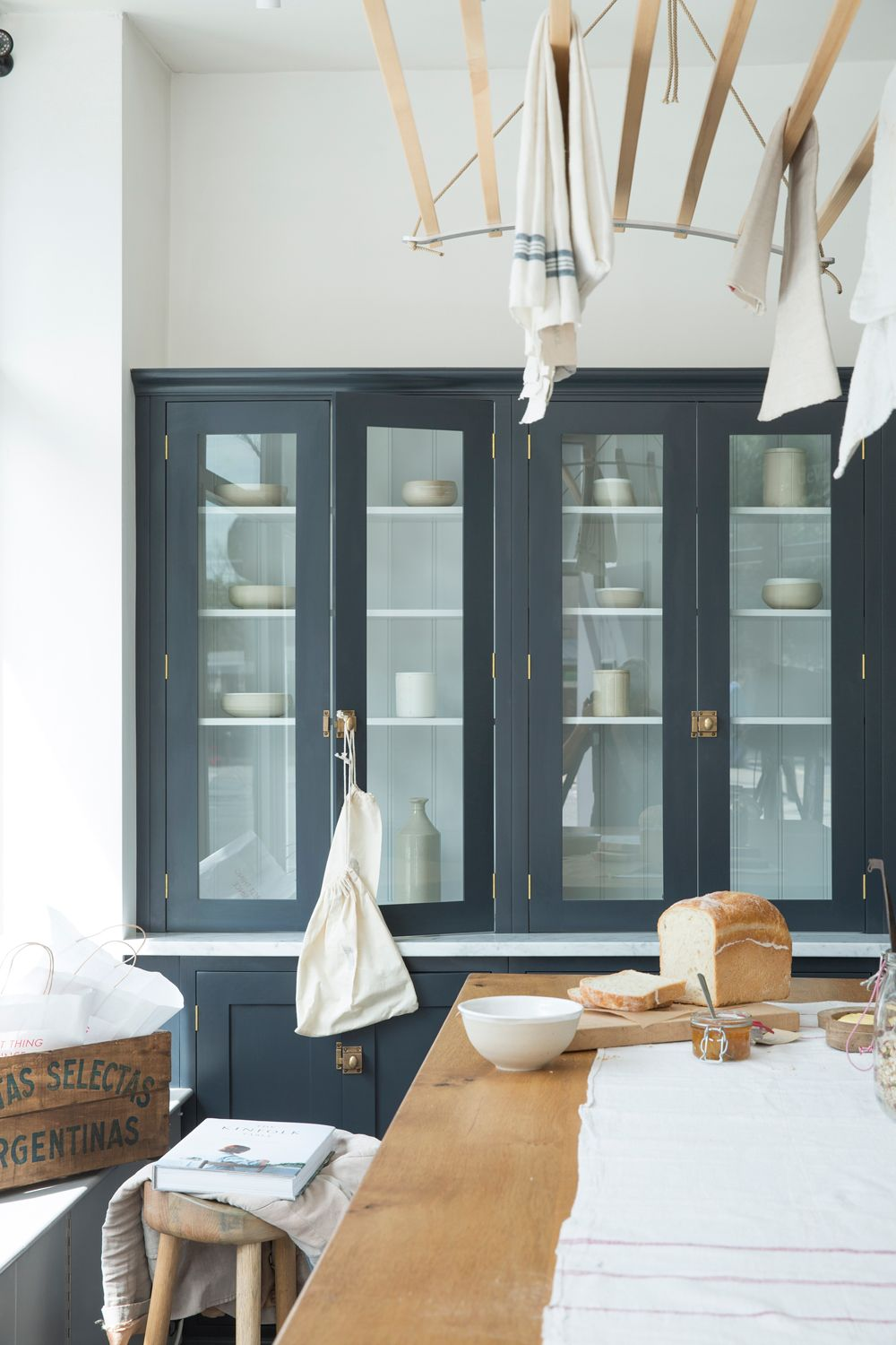 Lovely glazed Shaker countertop cupboards with Bella Brass catches ...
