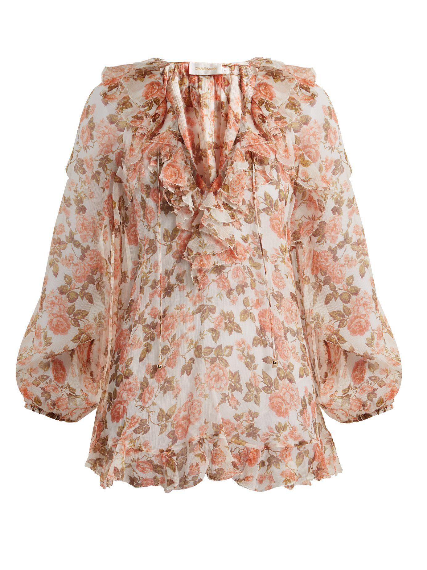 7119fcc0f486 ZIMMERMANN RADIATE FLORAL-PRINT SILK BLOUSE.  zimmermann  cloth ...