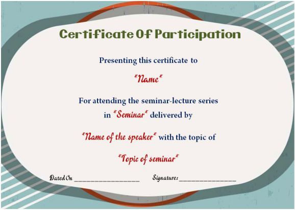 Sample of certificate of participation in seminars sample sample of certificate of participation in seminars yadclub Gallery