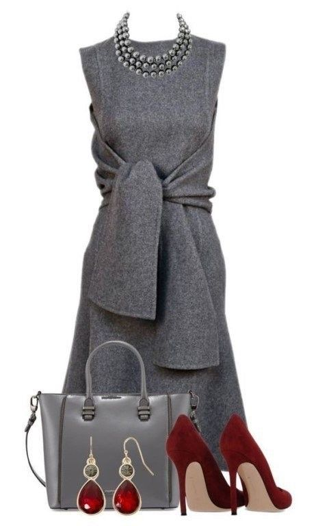 938225332 Ideas de outfits  cómo combinar un vestido gris... Toma nota ...