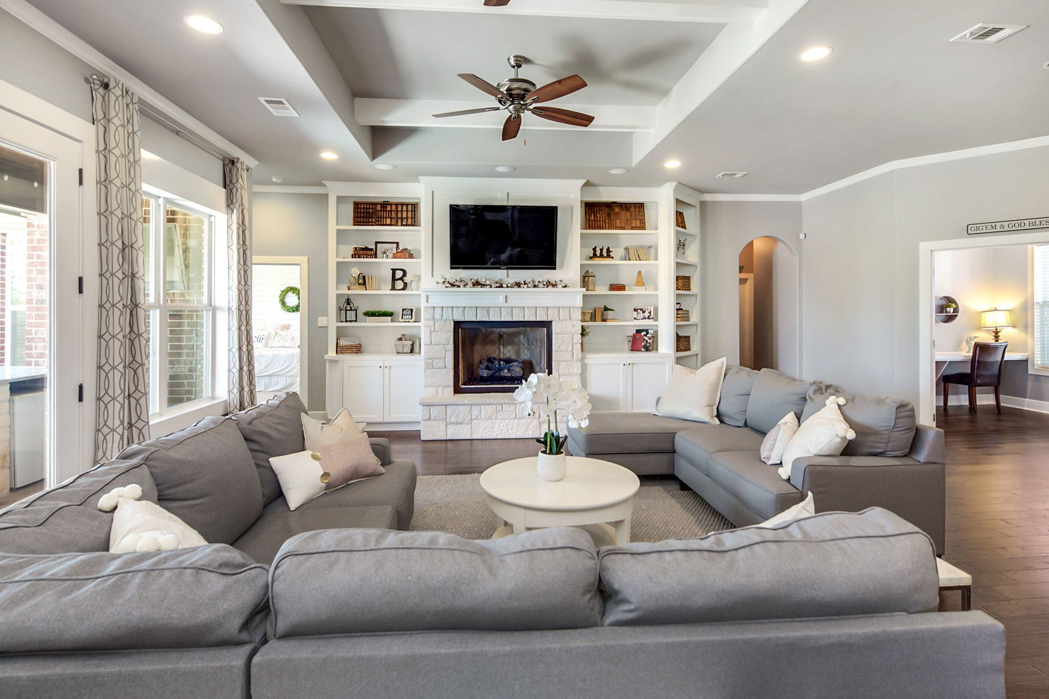 Living Room Built Ins Floor Length Curtains White Ceiling Beams Grey Walls Large Grey Sectio Ceiling Beams Living Room Living Room Styles Beams Living Room #olsberg #steel #living #room #set