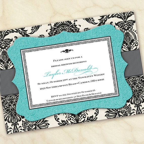 Bridal Shower Invitations Wedding Turquoise Graduation IN165