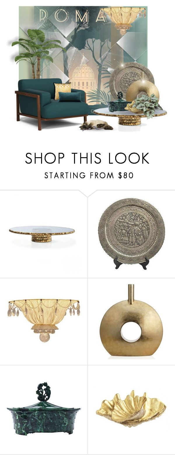 """""""Rome Art Deco Poster"""" by signaturenails-dstanley ❤ liked on Polyvore featuring interior, interiors, interior design, home, home decor, interior decorating, Annieglass, Lamp International, Jayson Home and JEM"""