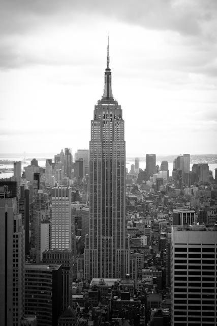 black and white photography nyc skyline top of the rock new york