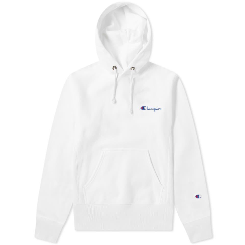Champion Reverse Weave Small Script Logo Hoody In White Modesens Champion Reverse Weave Hoodies Script Logo [ 1000 x 1000 Pixel ]