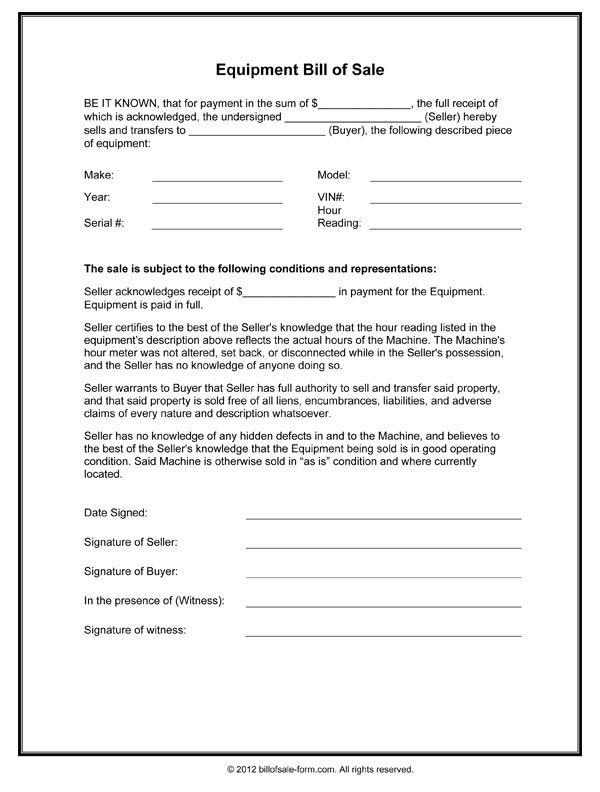 Equipment Bill Of Sale Form Bill Of Sale Template Bill Of Sale Sale Template