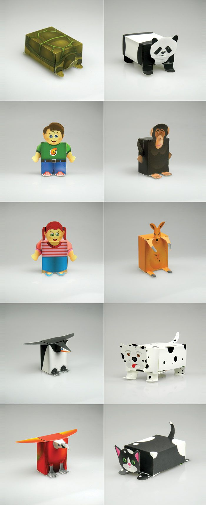 Rasin packages that turn into paper toys with no cutting or gluing required. Genius!
