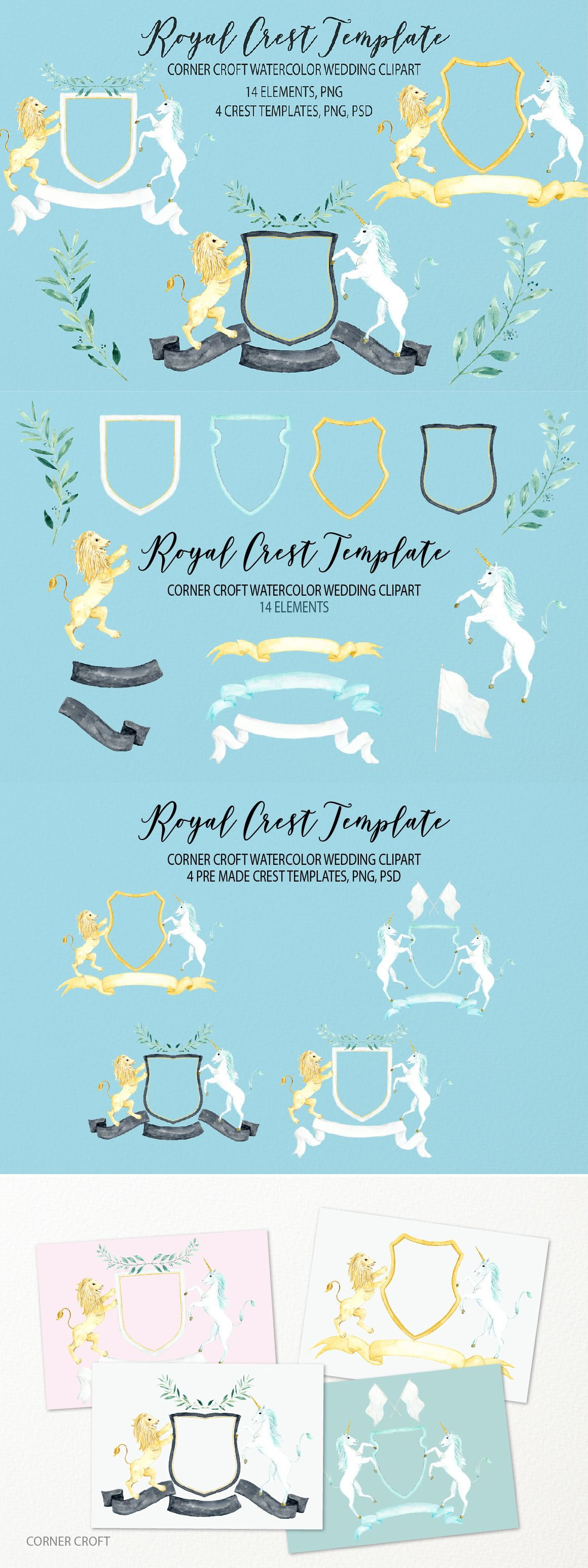 watercolor royal crest clipart wedding crest template for instant
