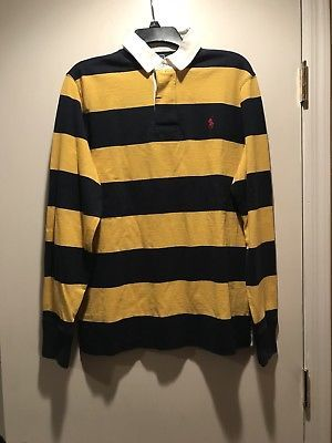 24304325eb Vintage POLO RALPH LAUREN Mens large rugby shirt long sleeve navy yellow  striped