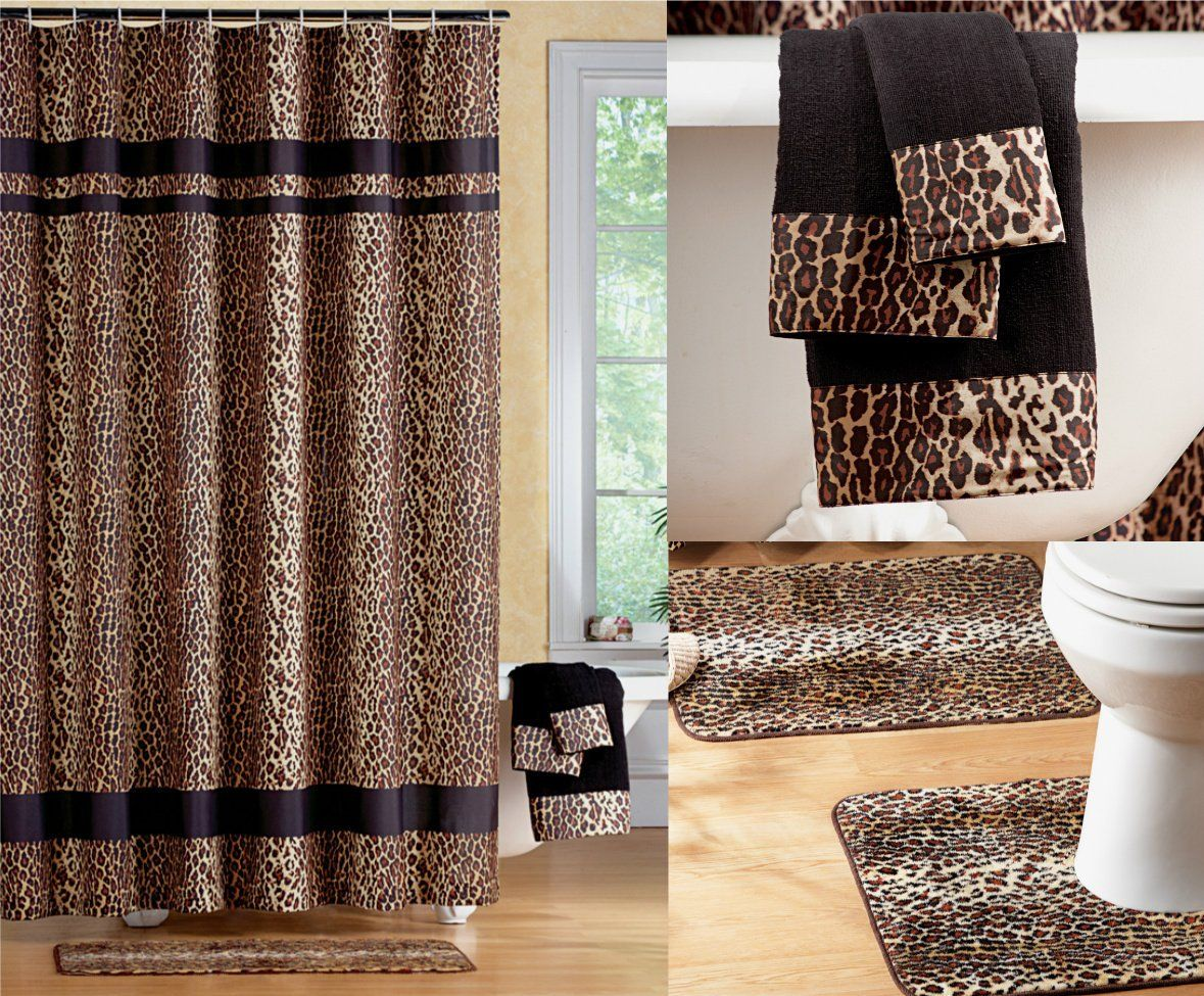Fabulous black brown jungle animal leopard for Green and brown bathroom set