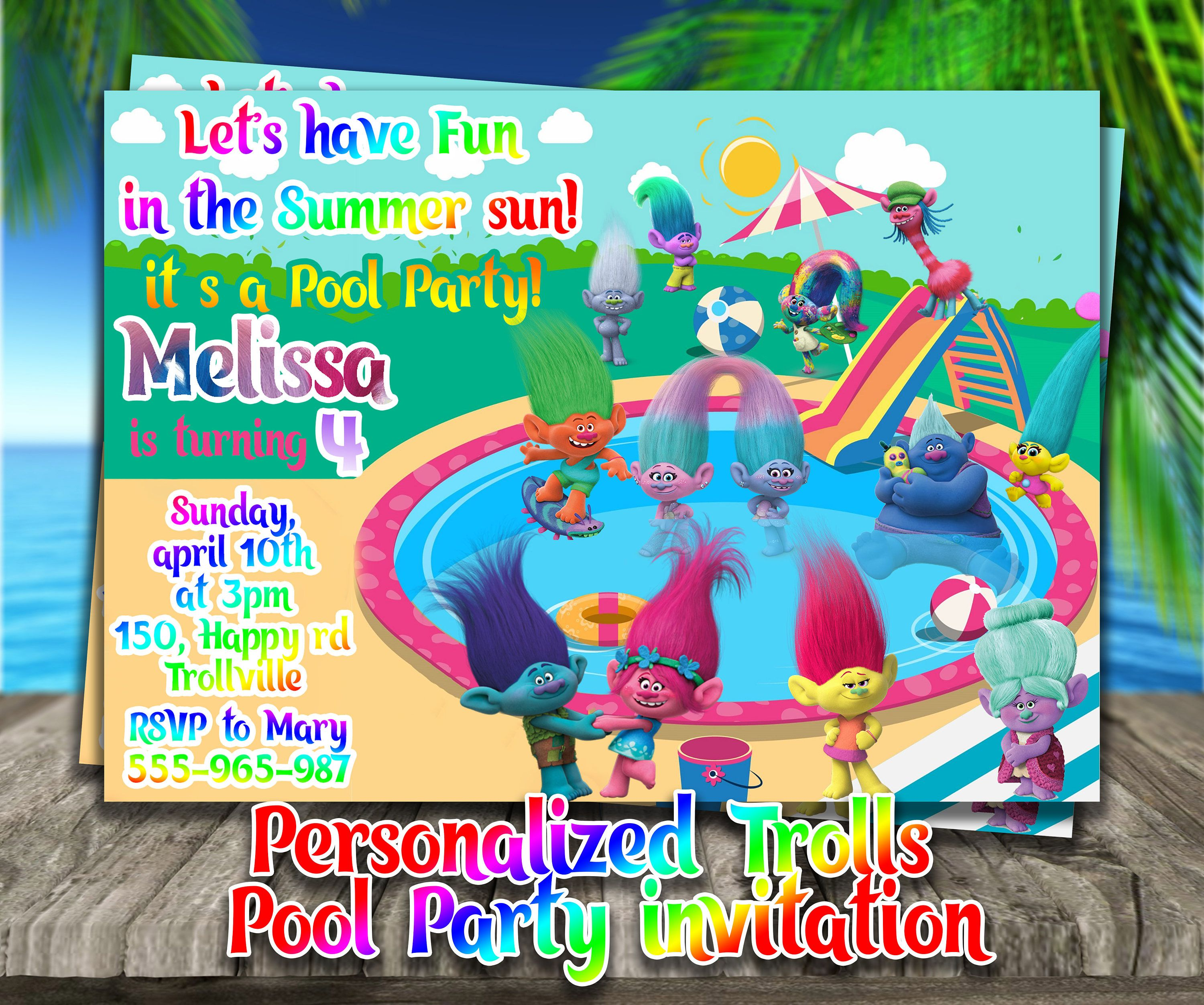 PERSONALIZED TROLLS Pool Party INVITE,Trolls birthday party ...