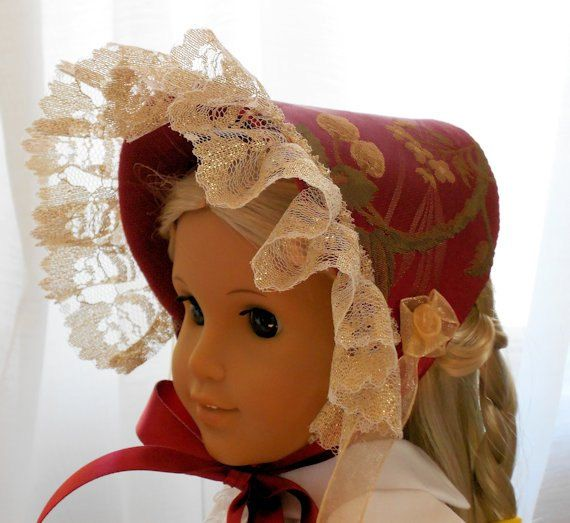 American Girl Doll Clothes - Doll Hat - Brocade Bonnet & Matching Collar #dollhats