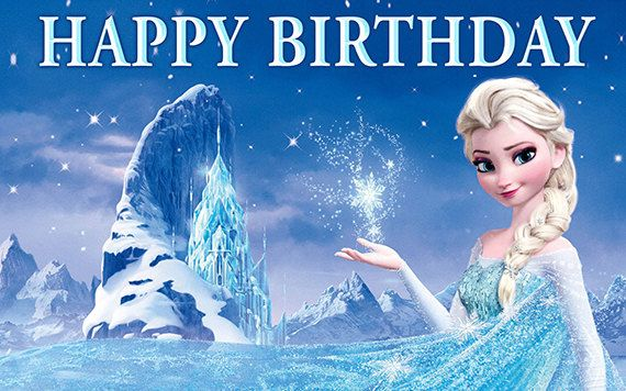 Frozen Personalize Custom Printed Birthday Backdrop Banner Elsa