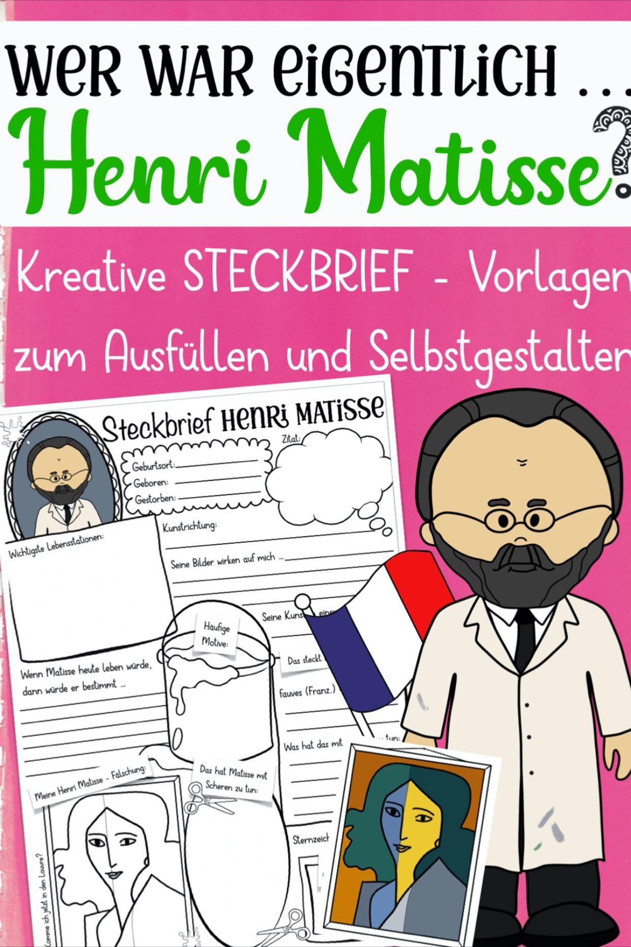 Henri Matisse Steckbrief Unterrichtsmaterial Im Fach Kunst Henri Matisse Kunstunterricht Kunst Unterrichten