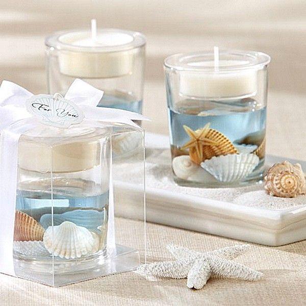 Wedding Take Home Gifts: Ocean Seashell Gel Tea Light Candle Holder Favor