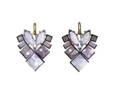 Rainbow Moonstone, White Sapphire and Labradorite Earrings
