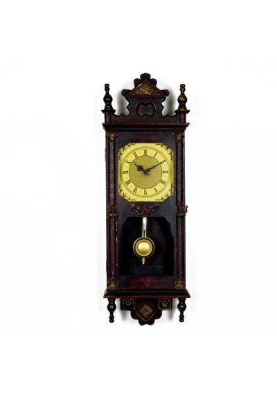 8951418052a9 Reloj de pared con movimiento de cuarzo. Fabricado en madera color nogal  oscuro envejecido con