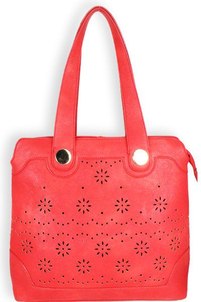 Laser Cut Designer Inpired Purse Red      Leather-Vinyl Feel Material     5 in Drop Length     Dual Carry Handles     Clossign Zipper     Interior Fabric Material     Back Zipper Pocket     Laser Cut Design     Silver Toned Hardware  Color: Red  Approximate Size: 12L x 10H x 2W  Model: C 755