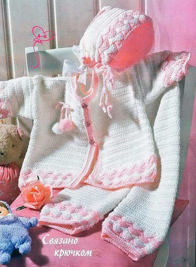 Вяжем для новорожденного 0-3 месяцев: костюмы спицами, идеи 50