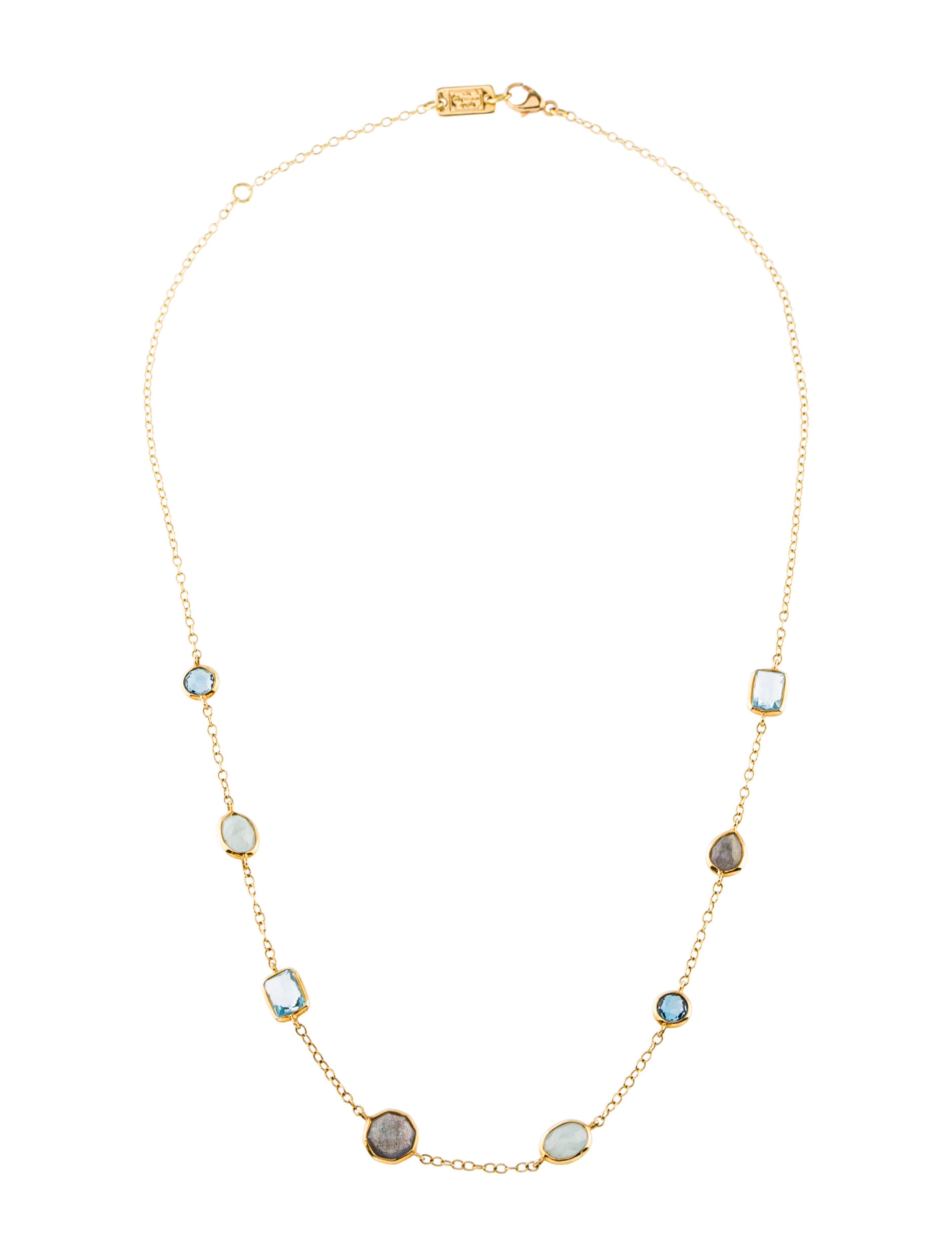7a88ff9897f40 18K Multistone Necklace in 2019 | Dresses | Station necklace, Beaded ...