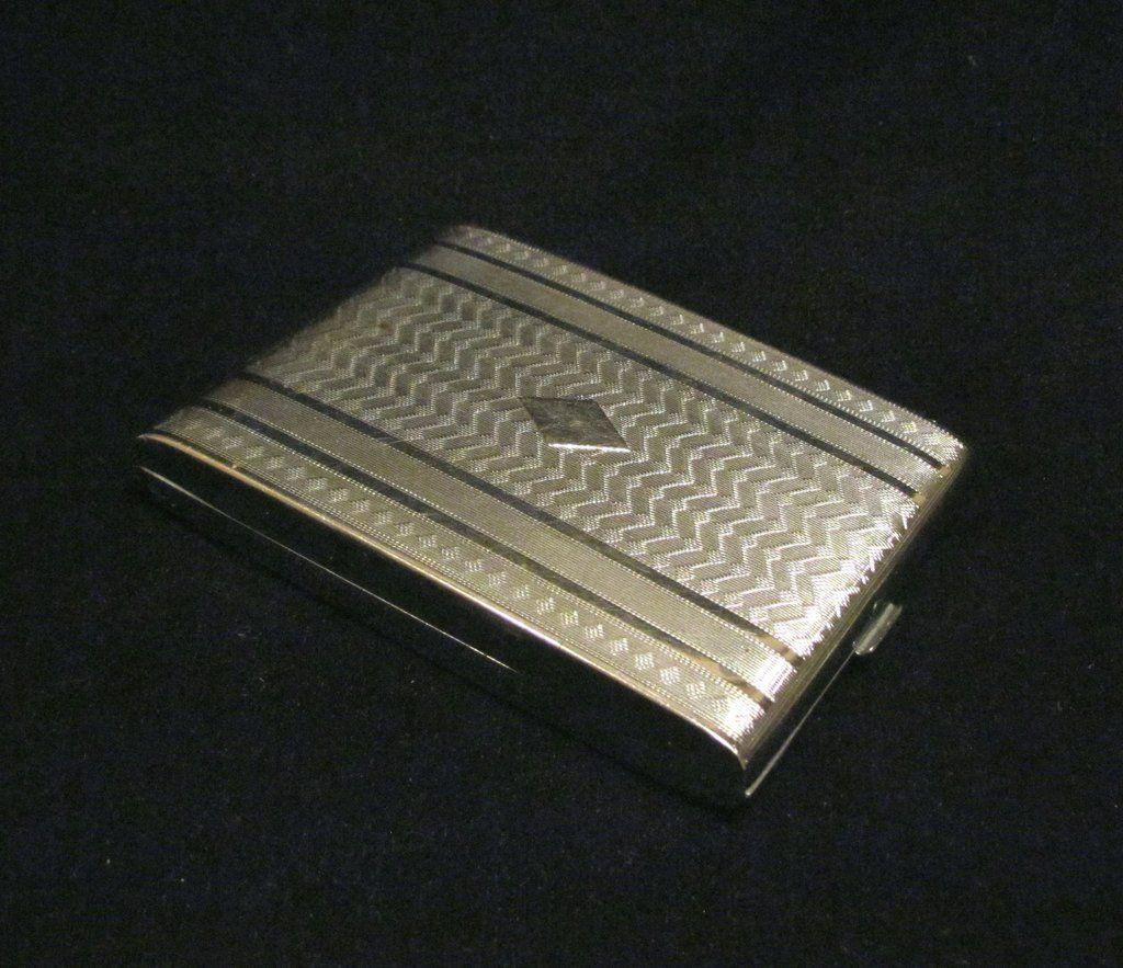 Vintage Evans Silver Cigarette Case Business Credit Card Holder ...