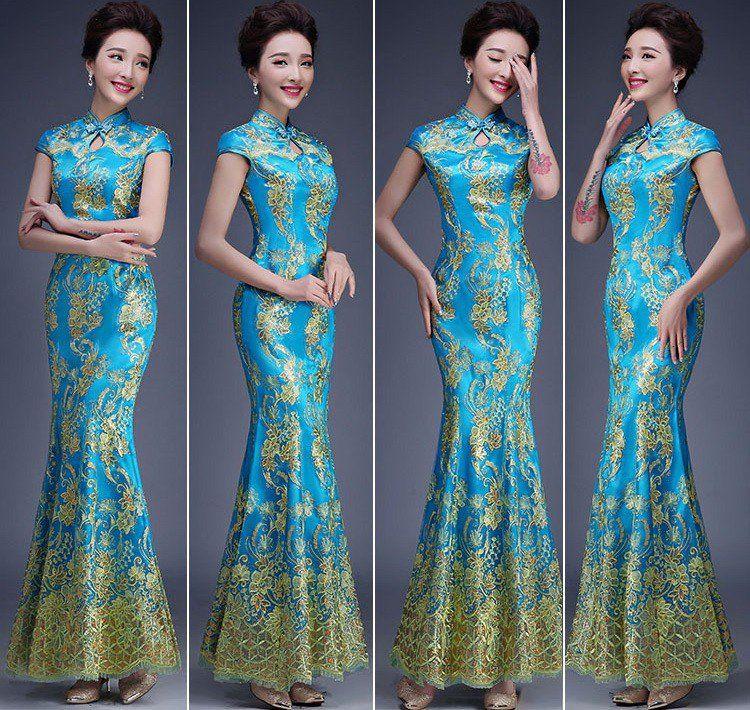 Classic Blue Brocade Maxi Mermaid Chinese Wedding Dress   Wedding ...
