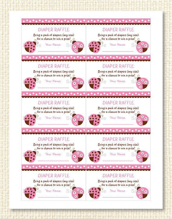 Cute Pink Ladybug Diaper Raffle Tickets / Ladybug Baby Shower / Baby Shower  Raffle / Pink U0026 Brown / Baby Girl Shower INSTANT DOWNLOAD