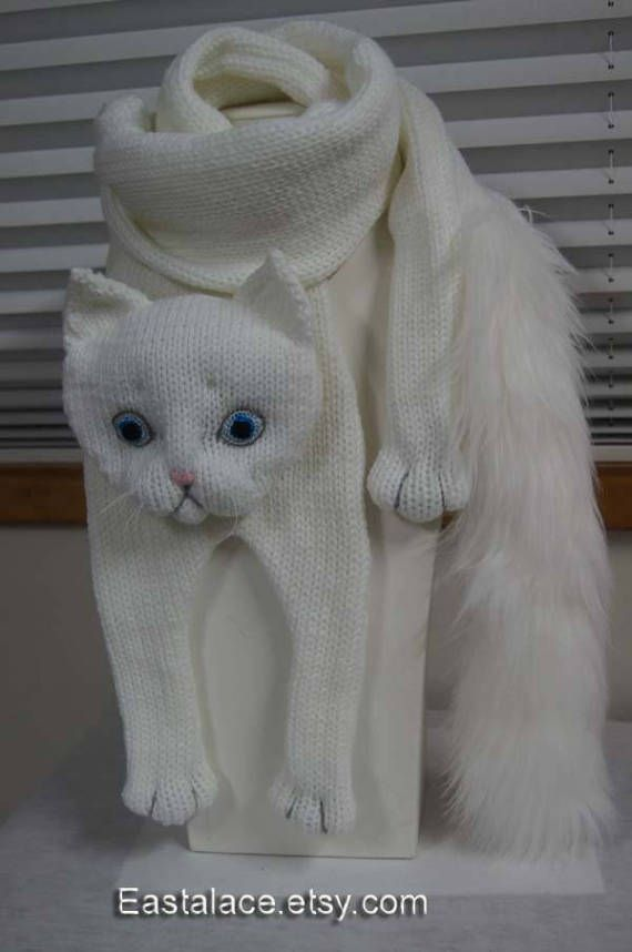 White Cat Scarf Knitting Cat Scarf Animal knitting scarf-Cat Lover ...