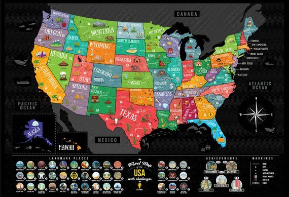 Scratch Off Map United States Colorful Deluxe Black Usa Map