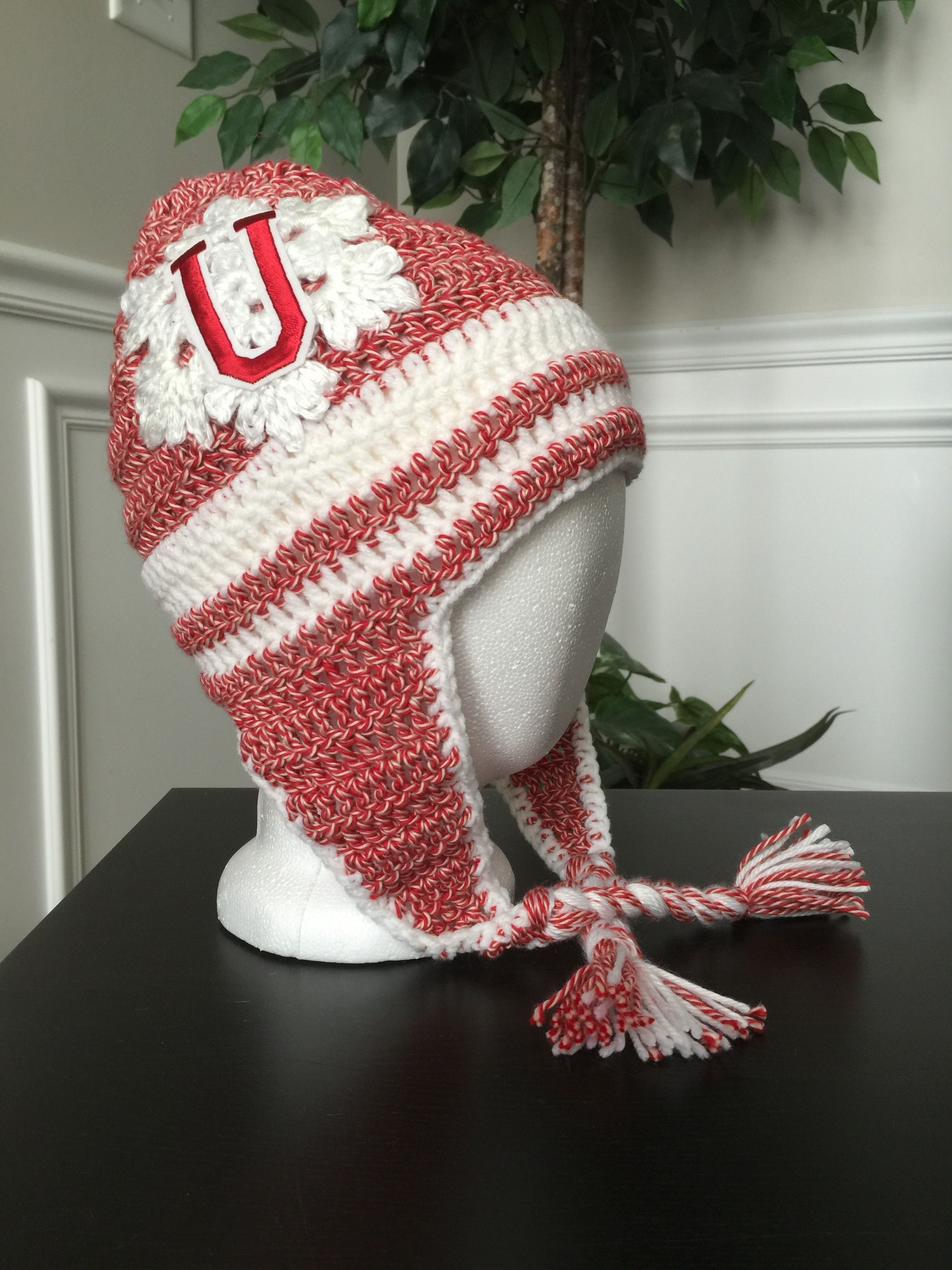 Crocheted Red and White University Of Utah Beanie with White Snowflake.