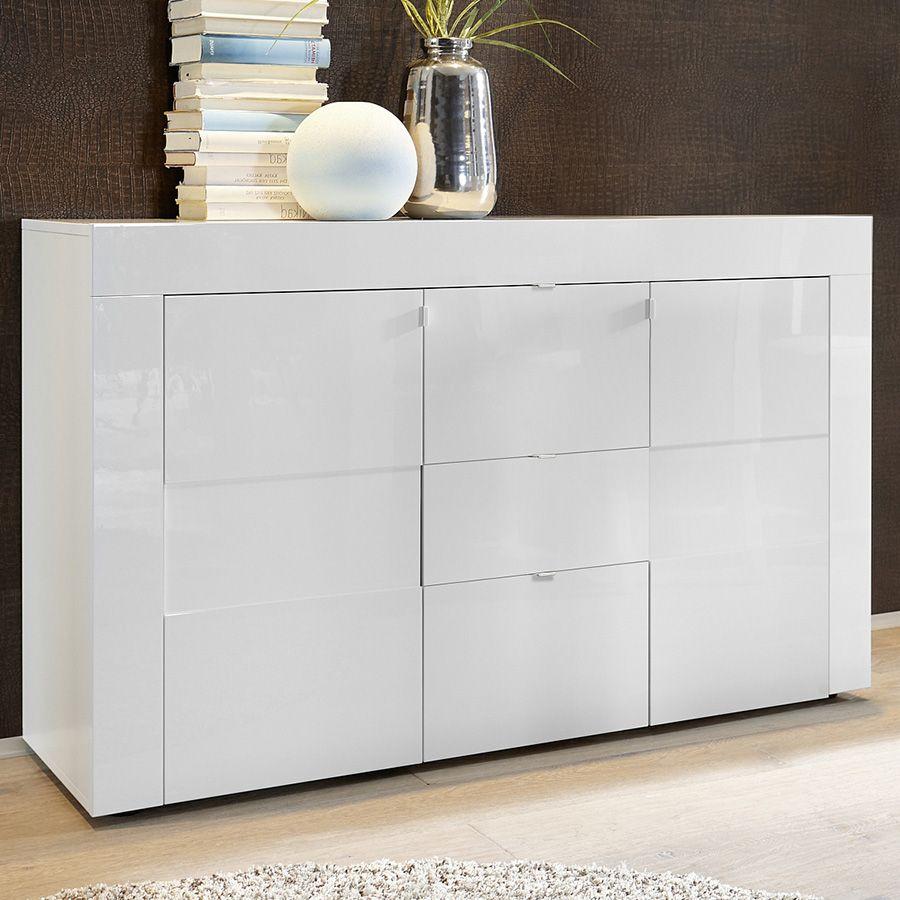 Bahut Blanc Laqué Brillant Design OKLAND 3