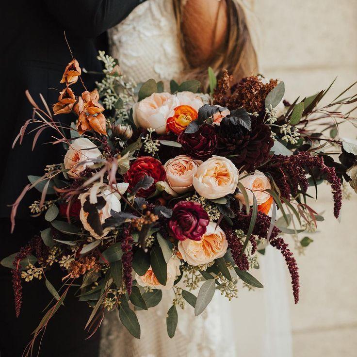 Boho, Urban, Burgund, Garten Brautstrauß   - Hochzeitsfloristik - #Boho #Brautstrauß #Burgund #Garten #Hochzeitsfloristik #Urban #fallbridalbouquets