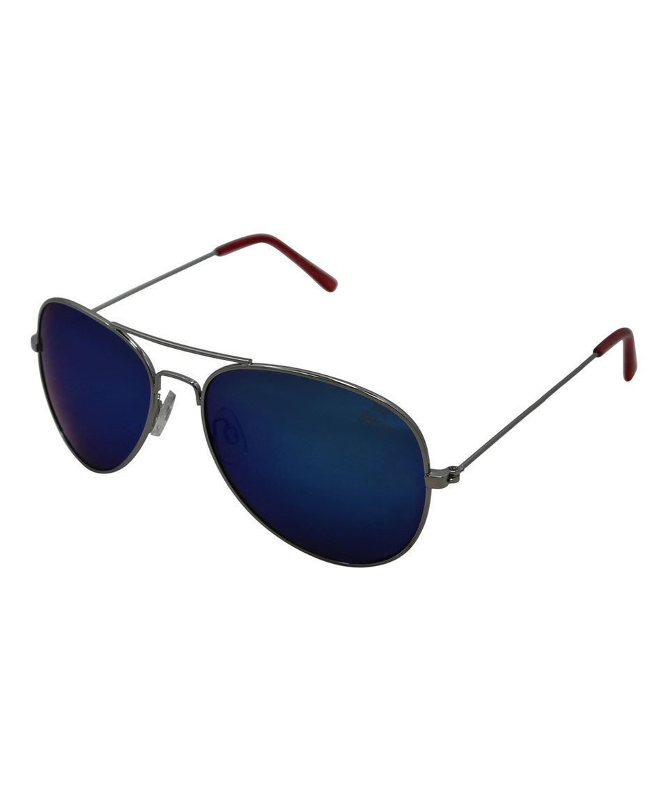 Another great find on #zulily! Blue Large Aviator Sunglasses by ...