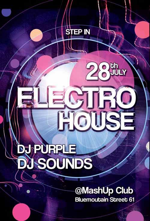 Free Electro Party Flyer Template  Free Flyer Templates