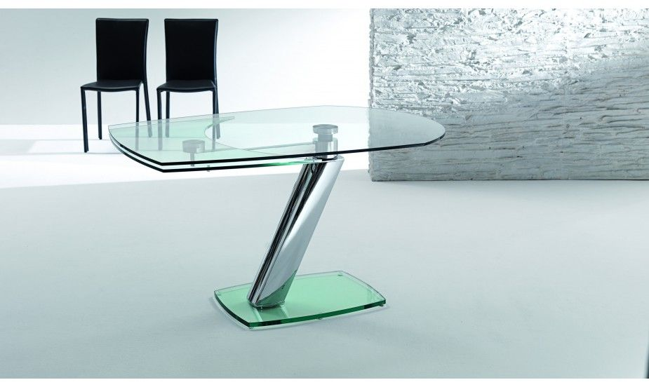 Table En Verre D Un Design Italien Elle S Adapte A Tous Les Interieurs Equipee D Un Mecanisme En Ac Table En Verre Table Modulable Table Relevable Extensible