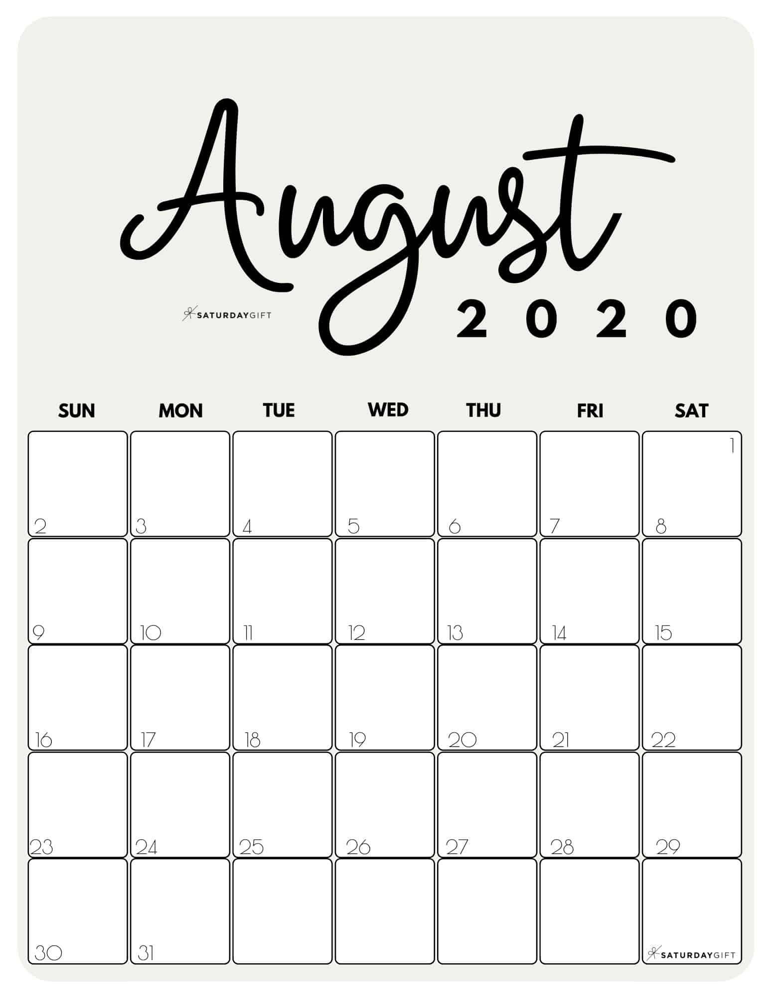 Cute Free Printable August 2021 Calendar Saturdaygift August Calendar Calendar Printables Monthly Calendar Printable