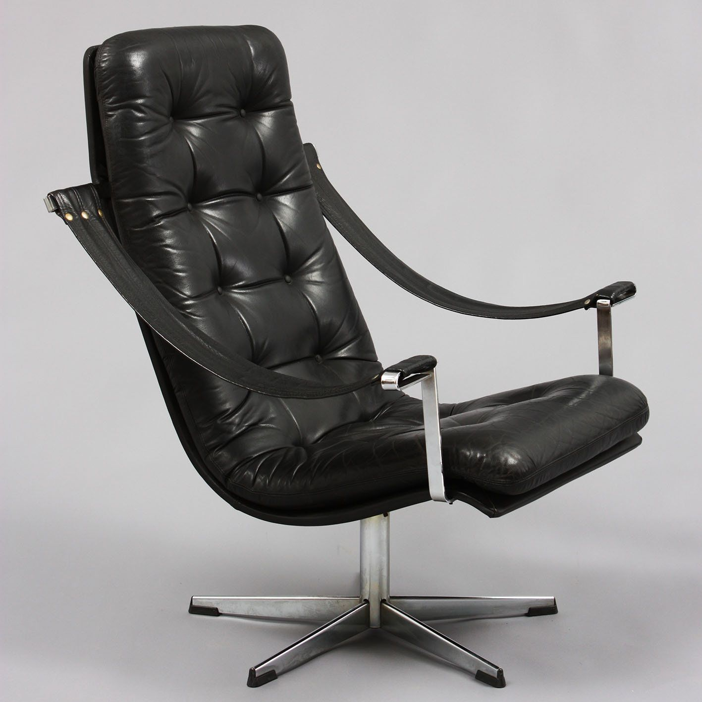 Metal And Leather Chair Geoffrey Harcourt Chromed Metal And Leather Lounge Chair
