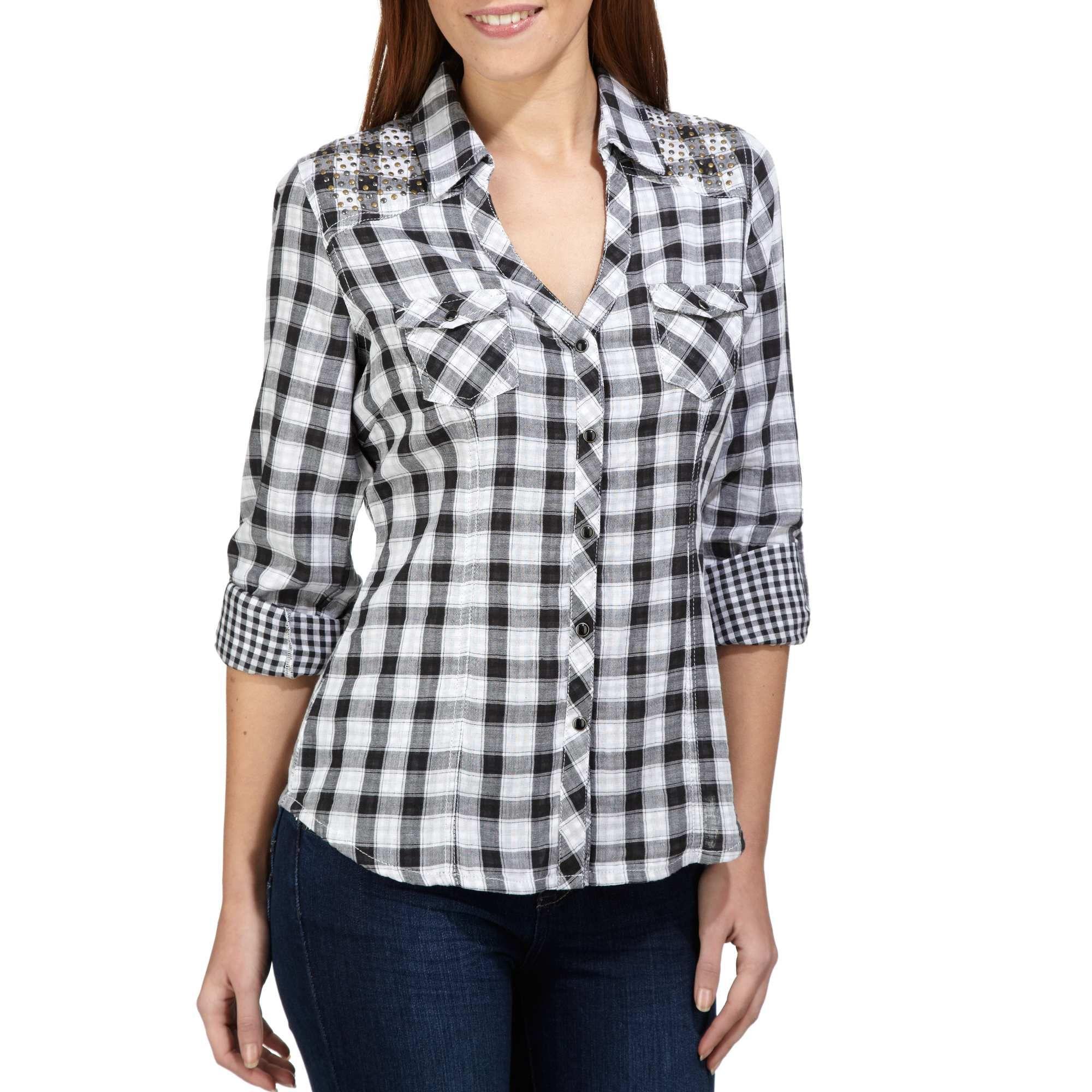 f7fe480620141 Camisa a cuadros con tachuelas negro a cuadras Mujer