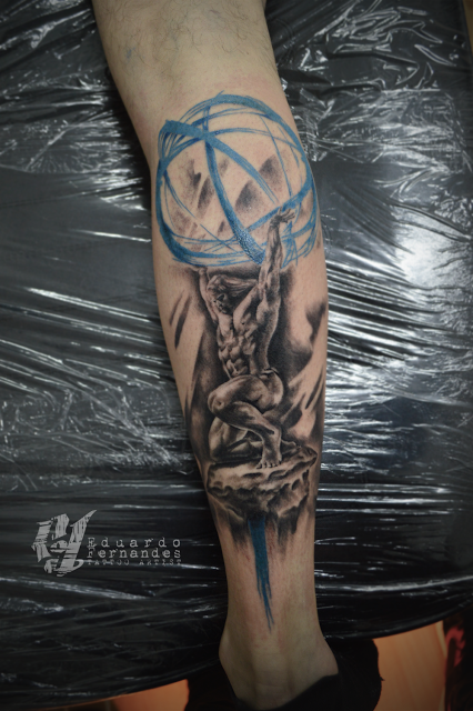 Atlas Tattoo Tattoo Calf łydka Pomysły Na Tatuaż