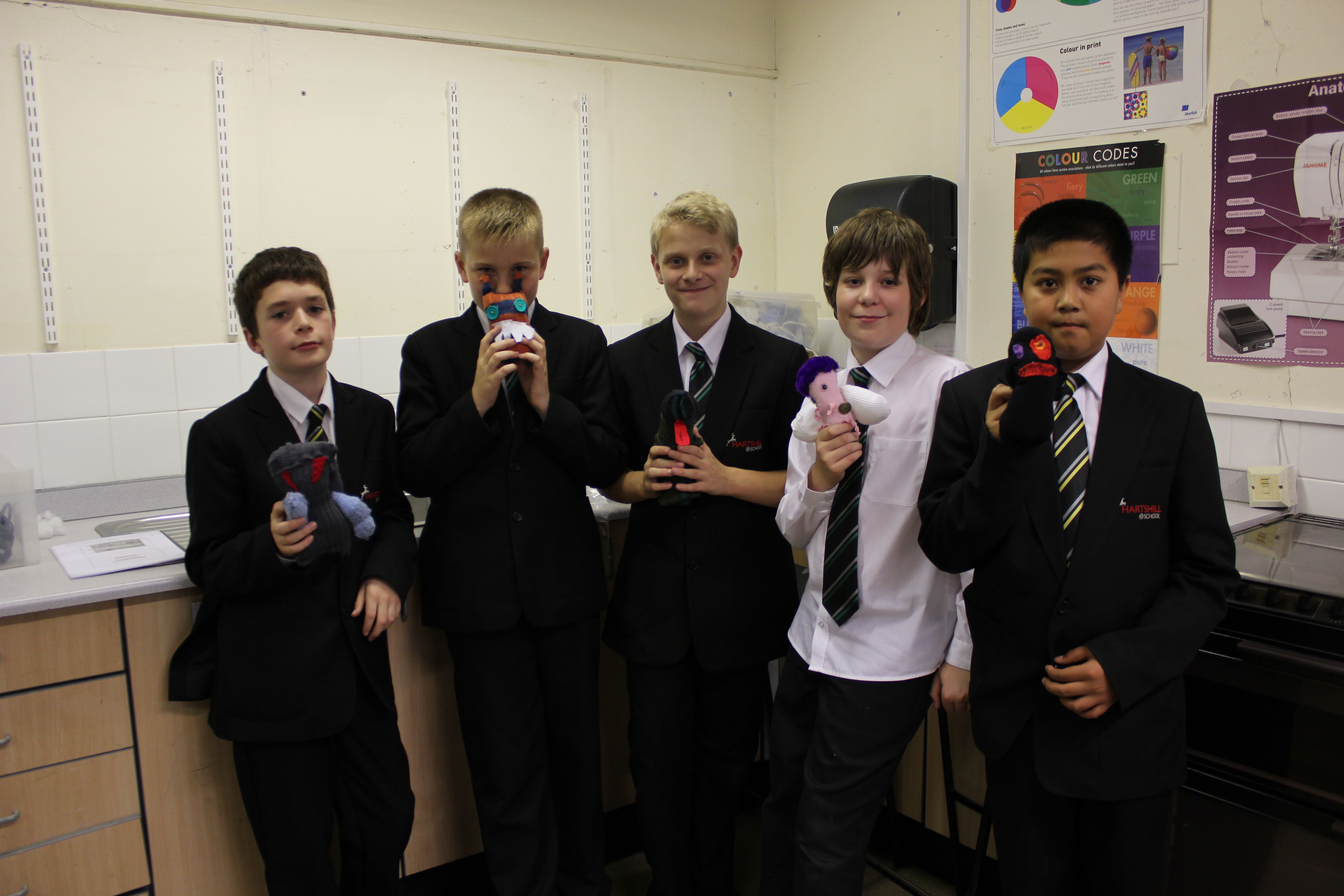 2ef7324b4 Donated socks from HJ Hall made into Sock Creations by students at  Hartshill School