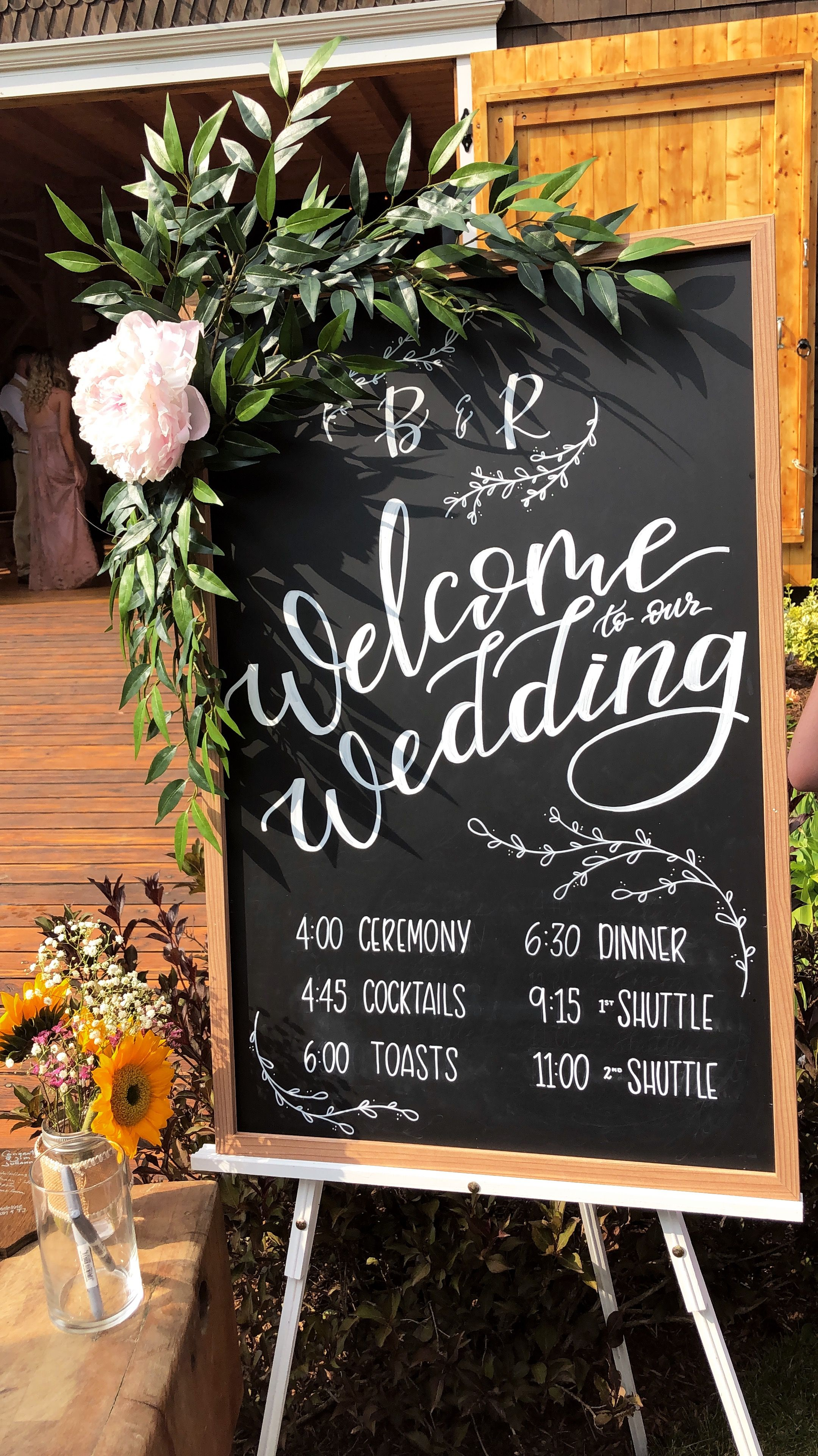 Hand Lettered Wedding Welcome Sign With Timeline Schedule For Rustic New England Weddi Chalkboard Wedding Program Wedding Chalkboard Signs Chalkboard Wedding