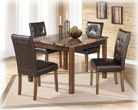 Theo Contemporary Brown Wood Pvc Marble Square Table And 4 Side Chairs Dining Room Sets Square Dining Tables Square Dining Room Table