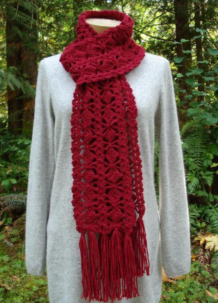 Out-Of-The-Box Scarf - PA-308 - A crochet pattern from Nancy Brown-Designer. Think out of the box on this design. This one-of-a-kind creation has double crochet boxes flanked by shells and is finished with generous tassels. This pattern PDF can be purchased at my Craftsy Pattern Store for $2.99, just click on the photo.