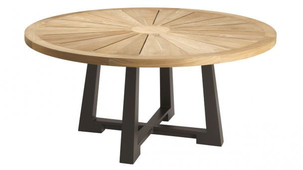 Table ronde de jardin contemporaine en bois ralph for Table exterieur tridome